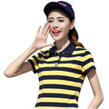 Striped Fashion 2017 Women Summer Plus Size 4XL 5XL Polo Shirts Print Cotton Feminina Style Femme Tops Mujer Short Sleeve YY668