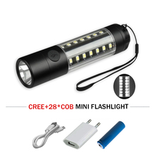 16COB mini led flashlight USB torch 18650battery 360 degree waterproof Warning Light lampe torche zaklamp camping