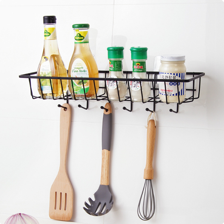 Permalink to Iron Non-trace Wall Mounted Kitchen Rack Spice Storage Shelf Rack Organizer With Hooks Drainer Shelves Home Bathroom Accessories