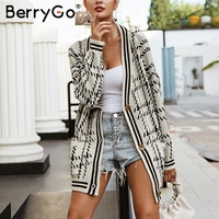 BerryGo V neck plaid tricot knitting cardigan Long sleeve pocket women sweater 2018 Autumn winter casual knitted sweater outwear