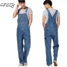 Hot 2019 Men's Plus Size Overalls Large Size Huge Denim Bib Pants Fashion Pocket Jumpsuits Male Free Shipping Brand цена в Москве и Питере