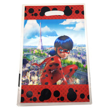 10pcs/lot Happy Birthday Party Miraculous Ladybug Cartoon Theme Loot Bag Baby Shower Decorate Girls Favors Plastic Gifts Bags(China)