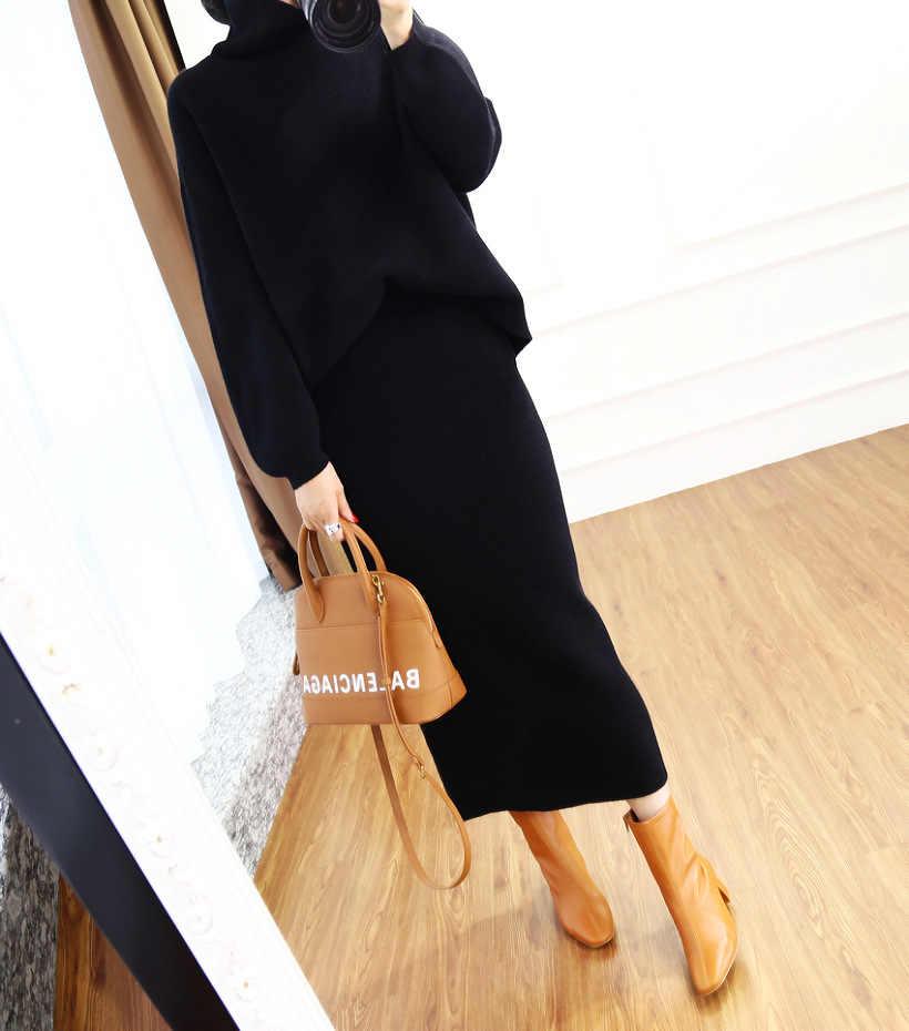 2020 herbst winter hohe kragen kaschmir pullover Koreanische version der lose pullover frauen gestrickte zwei-stück anzug tasche hüfte rock