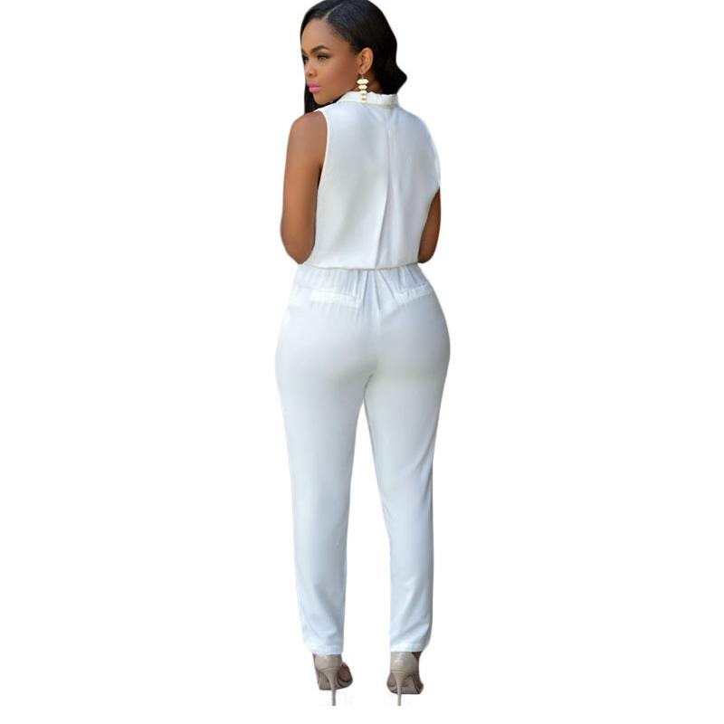 81e639ee004 Luxe White Jumpsuit Fitted Overall Rompers Sexy Women Stylish Party Club  Fashion Full Length Casual Office Lady V Neck Rompers-in Jumpsuits from  Women s ...