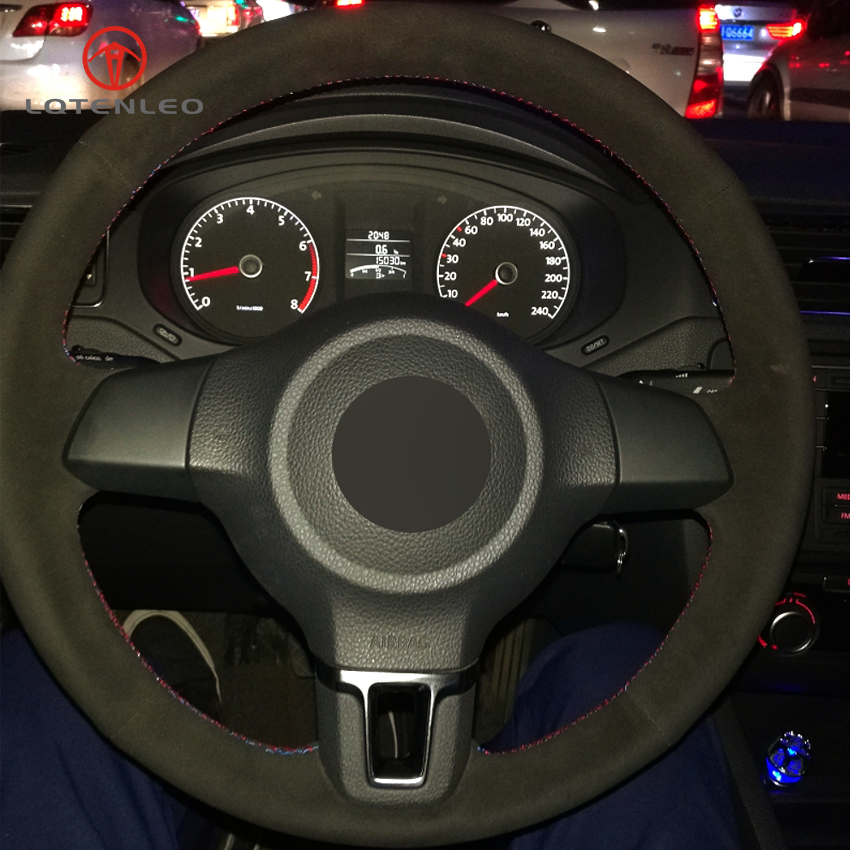 LQTENLEO Black Suede DIY Car Steering Wheel Cover for Volkswagen Golf 6 Mk6 VW Polo Sagitar