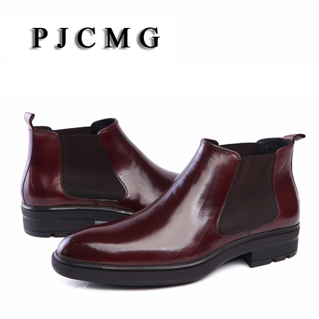 PJCMG High Quality Fashion Elastic Band Pointed Toe Brand Ankle Boots Casual Genuine Leather Design Men Dress Wedding Shoes