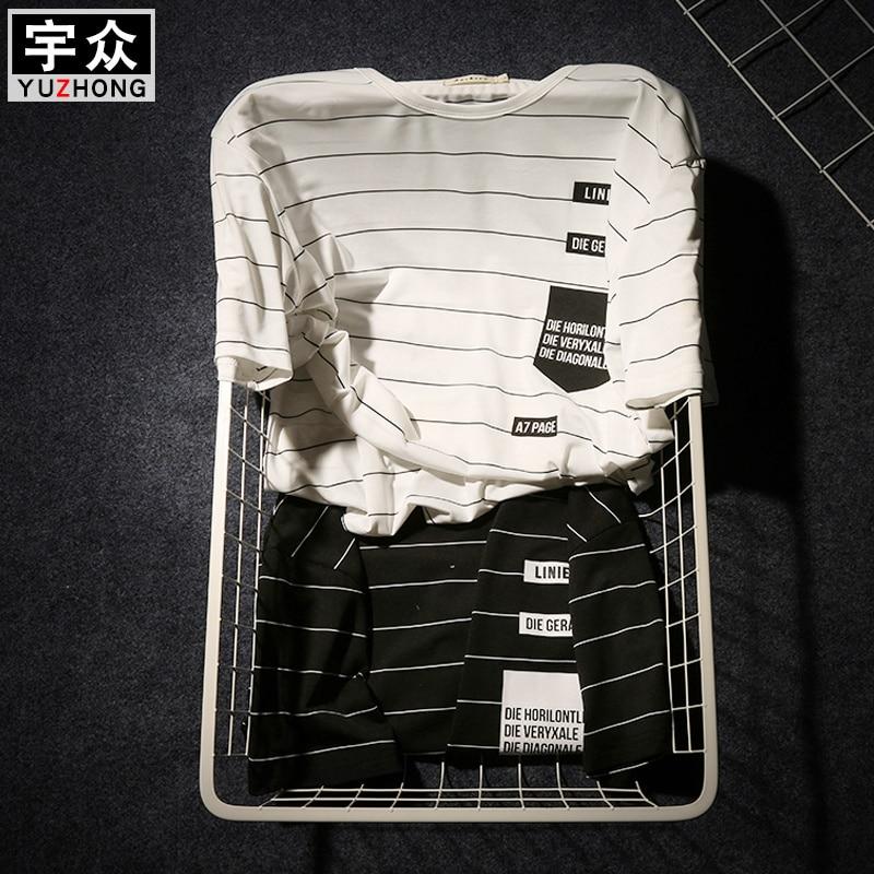 Summer T-shirt Men's Short-sleeved Fashionable Half-sleeved Round-collar Slim Men's Stripe Half-sleeved Clothes MW51 1