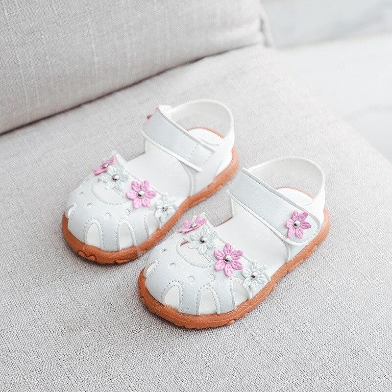 New Baby Girls Shoes Sandals Princess Soft Bottom Flower Dress Beach Non-Slip