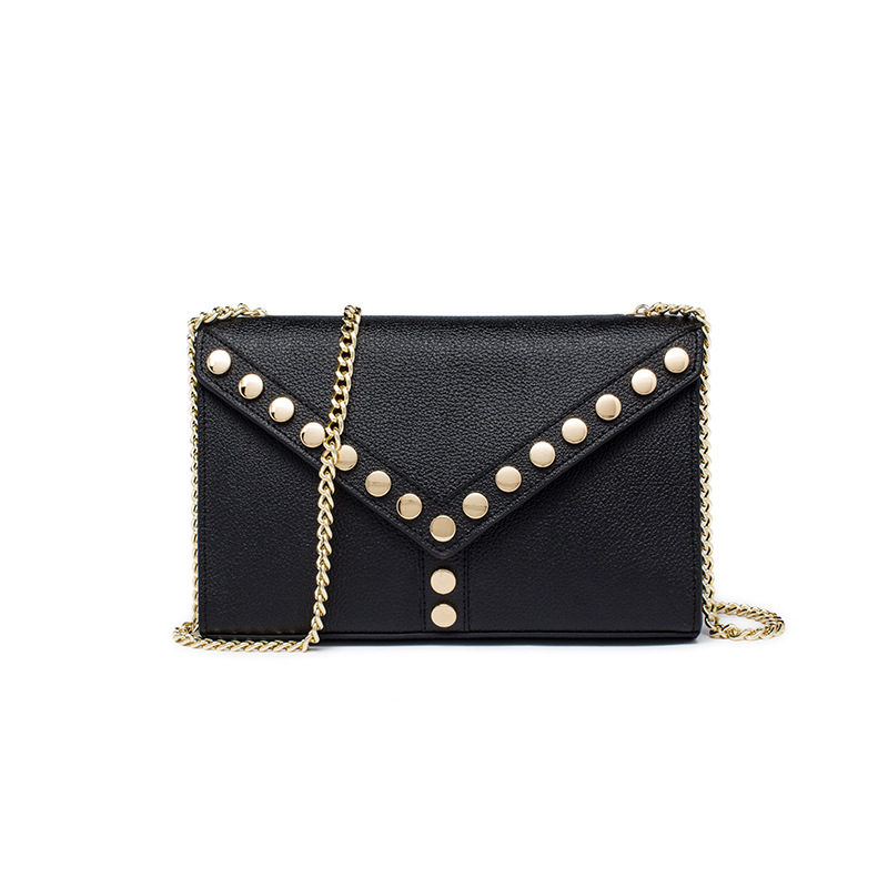 2018 Vintage Genuine leather women's handbag Fashion Rivet Lady chain Small Flap bag shoulder bags messenger bas Five color twenty four genuine leather female shoulder bags fashion style chain bags with rivets for young girl small lovely handy flap bag