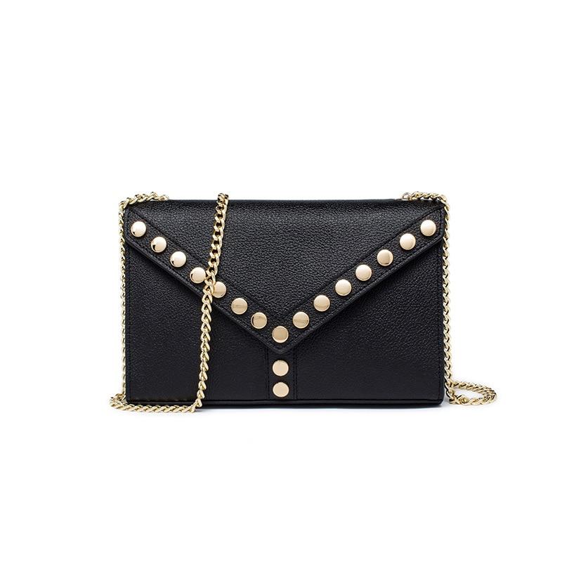 2018 Vintage Genuine leather women's handbag Fashion Rivet Lady chain Small Flap bag shoulder bags messenger bas Five color