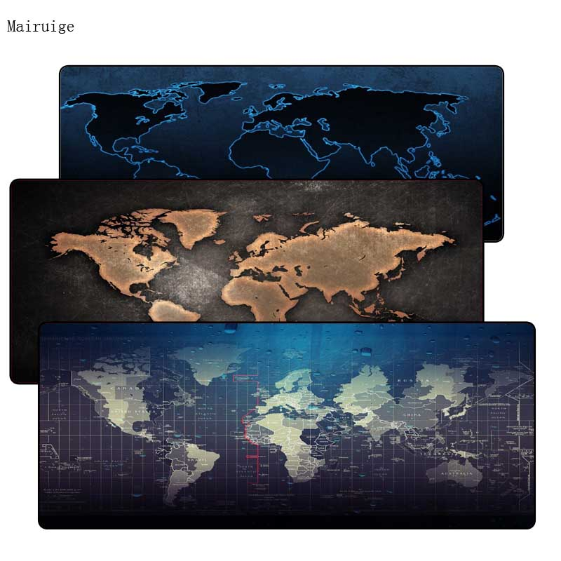Mairuige World Map Rubber Mouse Pad Large Lock Edge Mouse Mat Desk Mats Big Mousepads Gaming Rug Xl For Office Work/ Gaming Various Styles Mouse & Keyboards