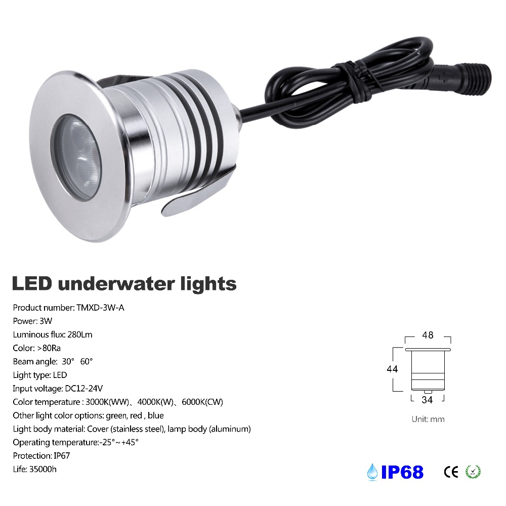 3W IP68 Waterproof LED Underwater Swimming Pool Light DC12V-24V Safety Pond Fountain Spotlight Embeded Lamp With Cree Chip3W IP68 Waterproof LED Underwater Swimming Pool Light DC12V-24V Safety Pond Fountain Spotlight Embeded Lamp With Cree Chip
