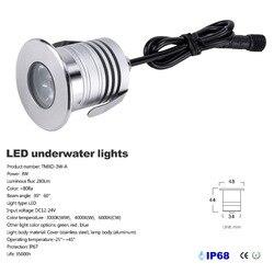 3W IP68 wodoodporne LED podwodne światła do basenu DC12V 24V bezpieczeństwa fontanna stawowa reflektor osadzona lampa|Lampy podwodne LED|Lampy i oświetlenie -
