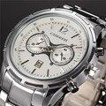 Relogio masculino 2016 Moedas de Prata de Aço Inoxidável relógio de Pulso Analógico Data de Exibição Militar Men Watch negócios relógios