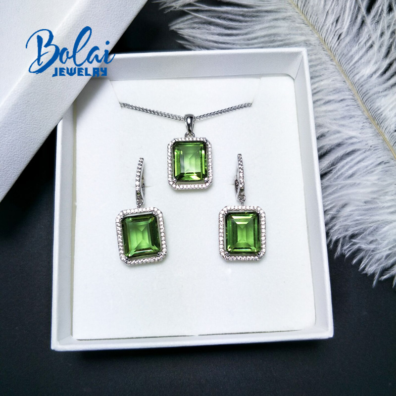 Bolai Color change Diaspore Jewelry pendant earring oct 10 12mm created gemstone jewelry 925 sterling silver for women gift in Jewelry Sets from Jewelry Accessories
