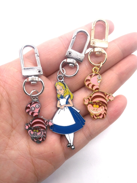 1 Pcs Cartoon Alice In Wonderland Princess Cat  Keychain  Jewelry Accessories  Key Chains  Pendant  Gifts  Favors LK-2