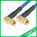 RP-SMA штыревой к RP-SMA штыревой правый угол RF Соединитель с RG402 RG141 RG-402 BlueCoaxial Перемычка синий кабель 8 дюймов 20