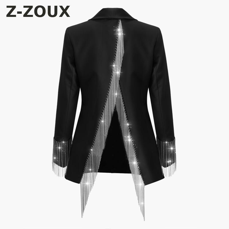 Z ZOUX Women Blazer Irregular Womens Blazers Long Sleeve Womens Jackets Chain Tassel Split Suit Blazer Fashion Female Suit Coat