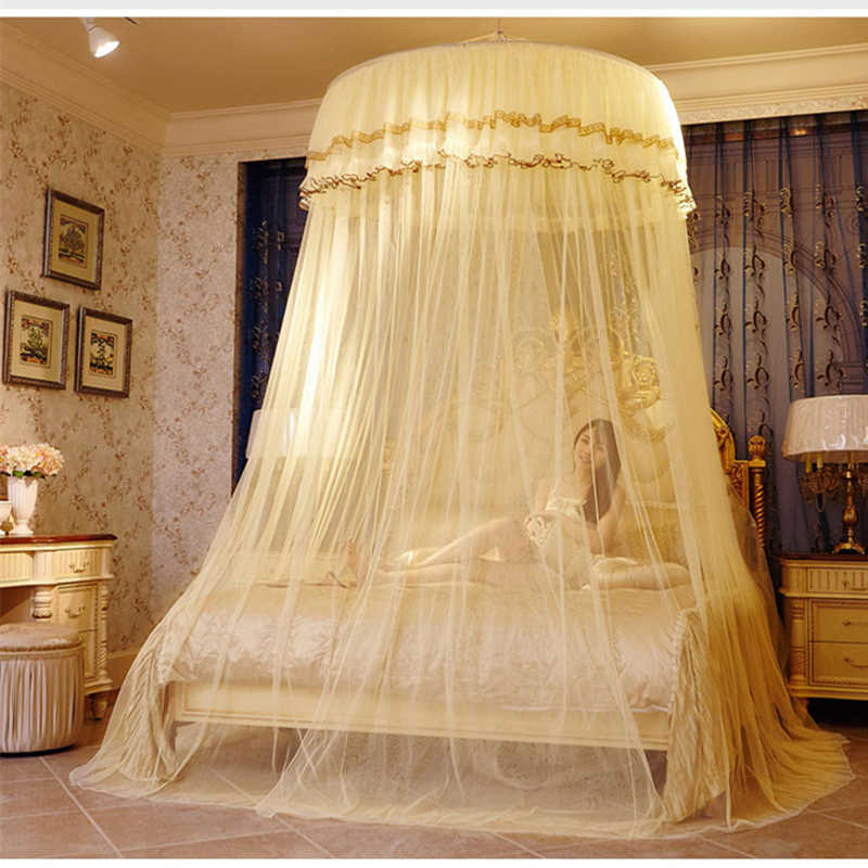 Double Lace Hung Done Mosquito Net Round Bed Canopy Netting For Adults Girls Room Decor Bed Tent Mesh Curtain Bulk moustiquaire