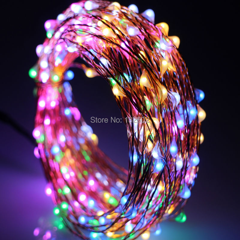 12m / 40Ft 240 Leds Ulkona LED-merkkivalot Lämmin Valkoinen Kuparilanka Joulu Tähtisäilövalot + Virtalähde (EU, US, UK, AU Plug)
