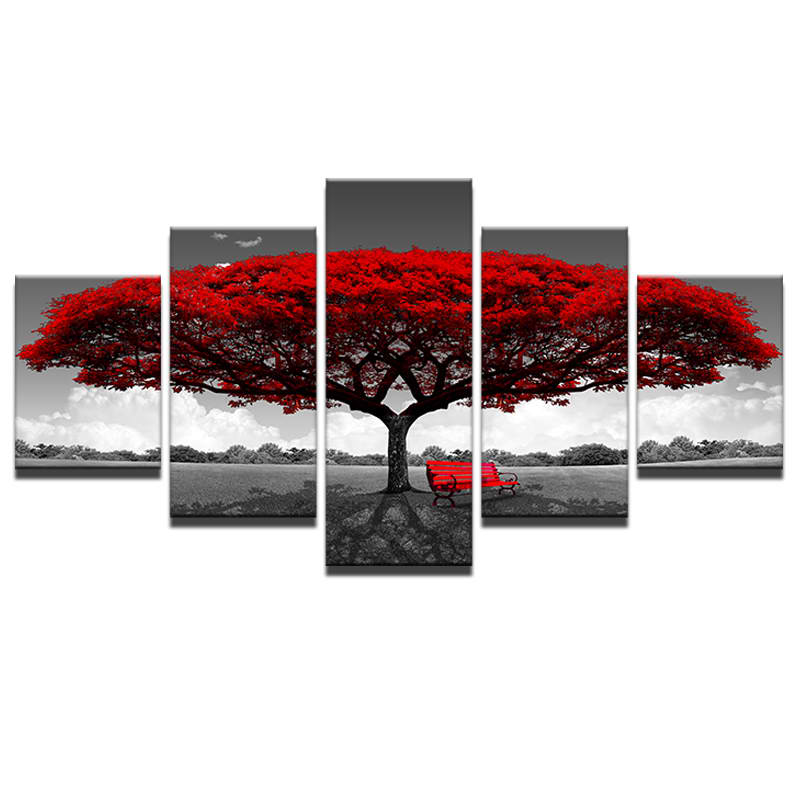 5 stück Malerei Gerahmte Leinwand Wand Kunst Rot Baum Landschaft ...