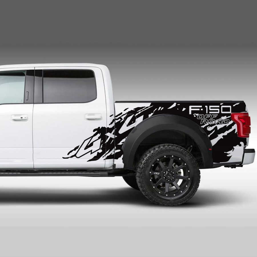 car decals 2pc pickup rear trunk tail box bed 4x4 off road mud vinyl car accessorises  [ 900 x 900 Pixel ]