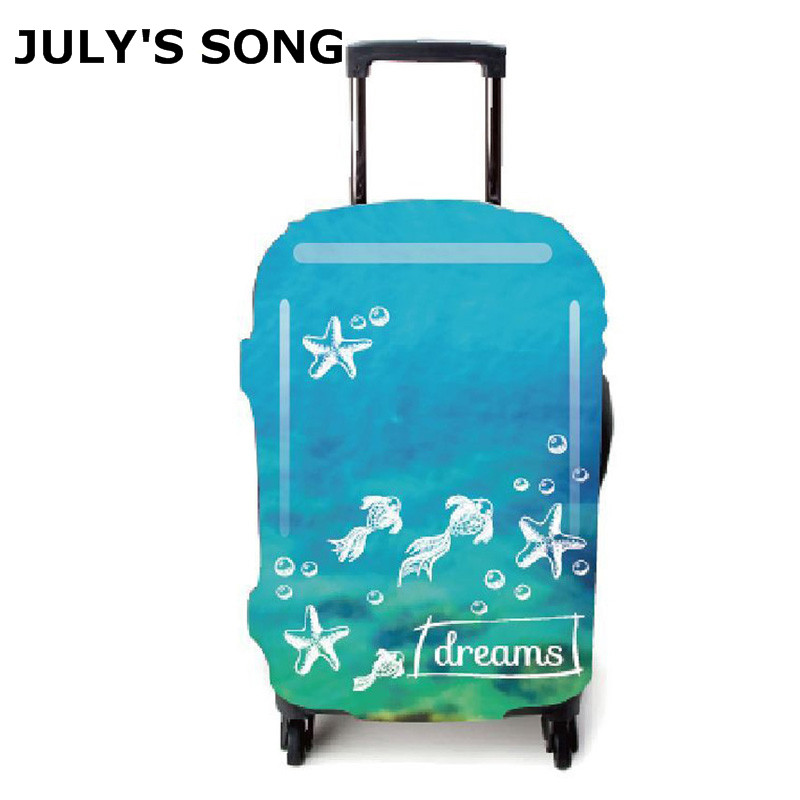 JULY'S SONG Fish Pattern Luggage Suitcase Cover For 18-32'' Case Trolley Protect Dust Box Bag Student Cartoon Case Cover