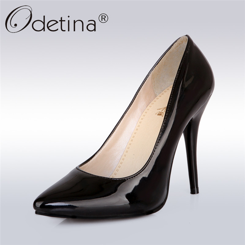 Odetina 2018 Brand Candy Color Pumps High Heel Dress Shoes for Women Sexy Stiletto Pumps Thin Heel Slip on Party Wedding Shoes odetina brand sexy women pointed toe slingbacks pumps summer ladies super high heels black women thin stiletto heel dress shoes