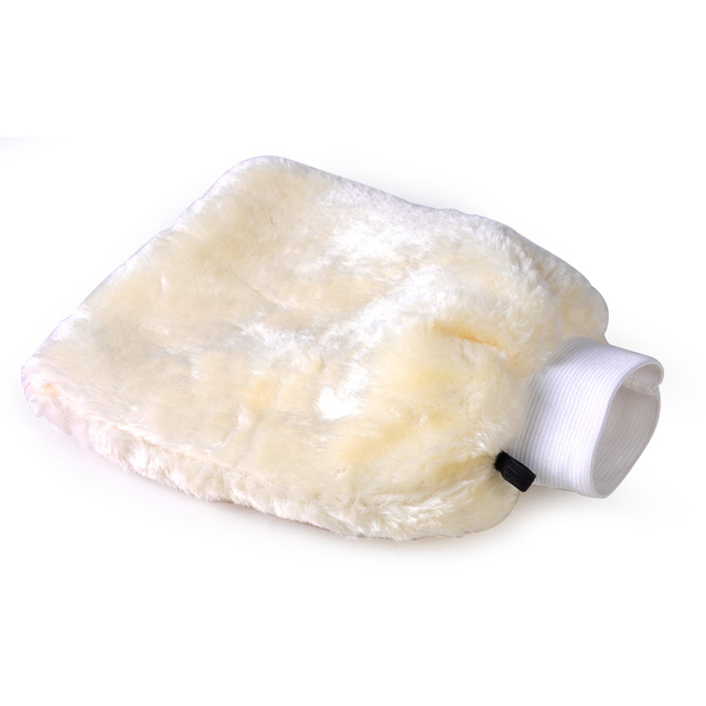 DWCX Car Soft Double Wool Wash Glove Hand Wash Cleaning Duster Brush Sheepskin Lambswool Washer For BMW Audi Nissan VW Toyota