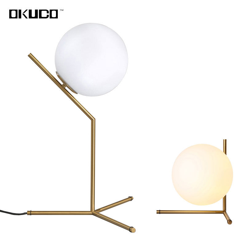 Modern LED glass ball desk lamp for dining room hotel bedside reading art design table study office Decorative lights tuda glass shell table lamps creative fashion simple desk lamp hotel room living room study bedroom bedside lamp indoor lighting