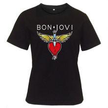 New 2017 Fashion Design T Shirt Print MenS 100% Cotton Crew Neck Short-Sleeve Bon Jovi Rock Band Heart Classic Logo Tee