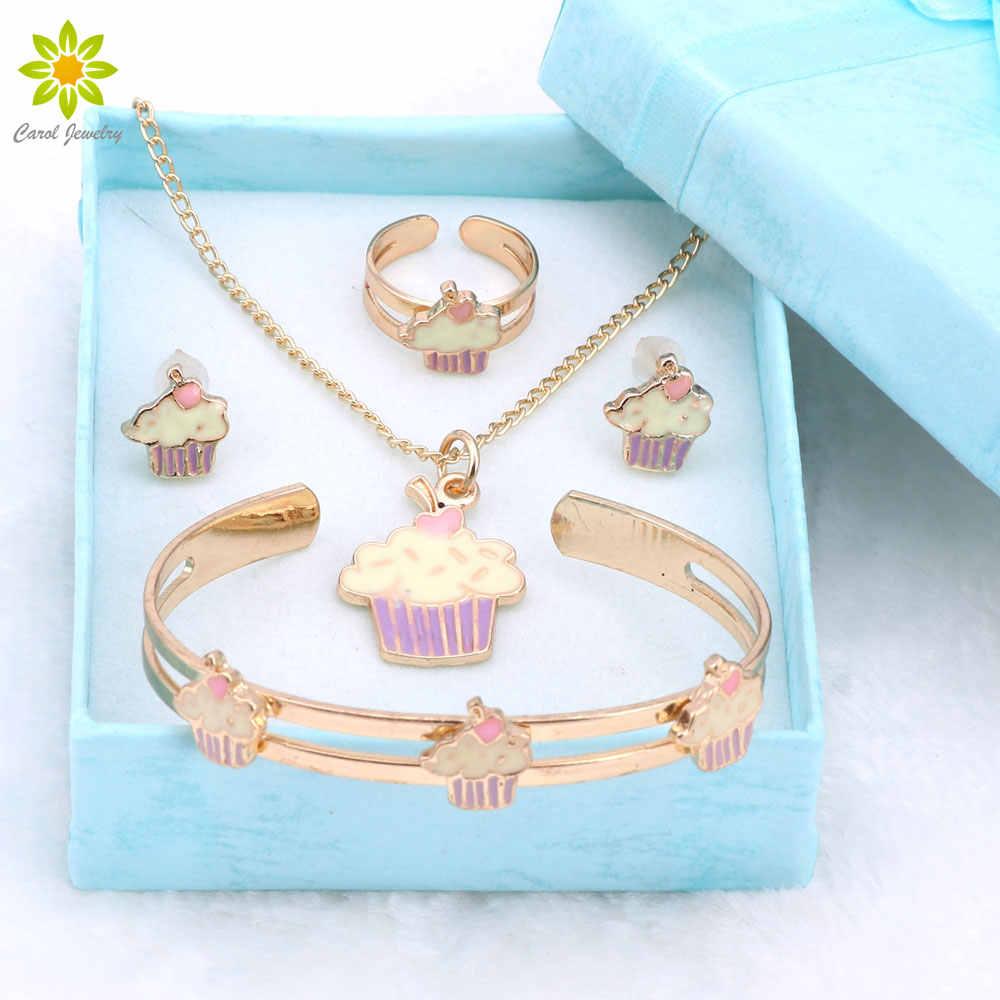 Gold Color Lovely Fashion Necklace Bangle Bracelet Set For Children Kids Costume Jewelry Sets Gift Bo 4color