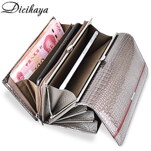 DICIHAYA Brand Genuine Leather Women Wallets Crocodile Print Long Hasp Zipper Wallet Ladies Clutch Bag Purse Female Luxury 2019(China)