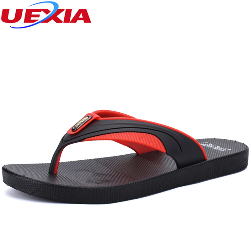 UEXIA Summer Fashion Mens Flip Flops Anti-slip Couple Handmade Word Drag Comfortable Classic Beach Walking Slippers Sandalias