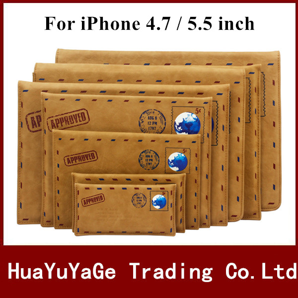 Phone Cases vintage PU Leather Ultra thin luxury Retro Pouch Mail envelope Cover case For iPhone 4 4s 5 5s 6 6S Plus 7 Plus