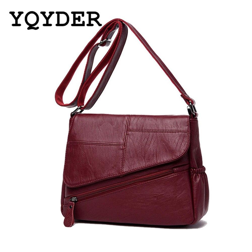 Luxury Women Bags Leather Patchwork Messenger Bags Female Zipper Handbag Sac A Main Designer Solid Crossbody Shoulder Bag Ladies