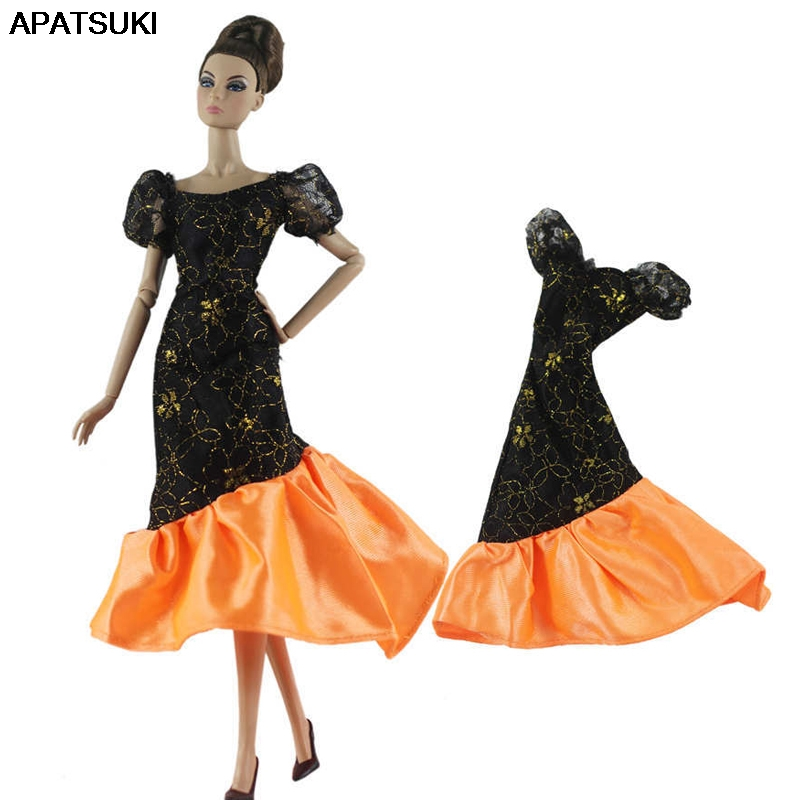 Black Orange Patchwork Party Dress For Barbie Doll 1/6 Doll Clothes Princess Gown For Barbie Doll Outfits 1:6 Doll Accessories
