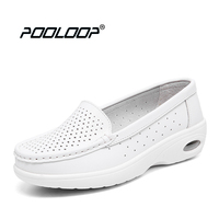 Pooloop 2017 White Nursing Shoes Women Comfortable Work Shoes Slip On Casual Medical Shoes For Women