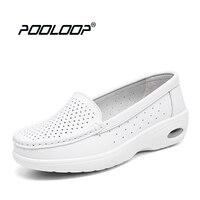 Pooloop 2017 화이트 간호 신발 여성 편안한 작업 신발 캐주얼 의료 신발 여성 정품