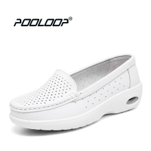 Pooloop 2017 White Nursing Shoes Women Comfortable Work Shoes Slip On Casual Medical Shoes For Women Genuine Leather Soft Flats