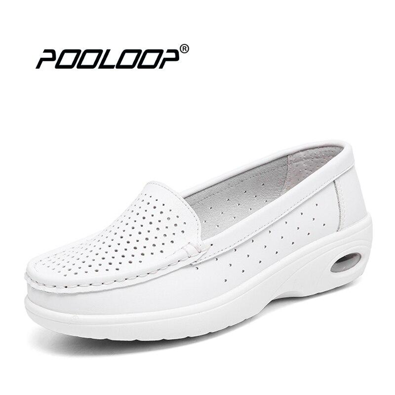 precio de calle venta directa de fábrica reputación confiable € 33.62 |Pooloop 2017 zapatos blancos de enfermería ZAPATOS DE TRABAJO  cómodos de Mujer Zapatos médicos casuales para mujeres zapatos suaves de  cuero ...