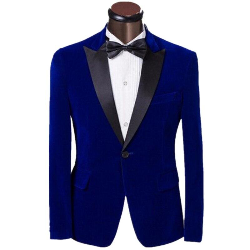 New Elegant Royal Blue Velvet Groom Tuxedo Jacket Black Lapel Mens ...