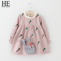 HE Hello Enjoy Girl Princess Dress 2017 Spring Autumn Toddler Girl Clothes Long Sleeve Carrot Print