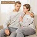2017 Moda Inverno Grosso Keep Warm Luva Cheia calças Compridas camisa Macia Breve Grosso Cotton Homewear amante Pijama para as mulheres homem