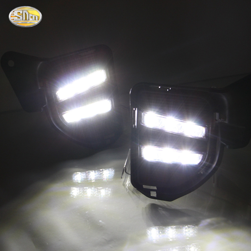 SNCN Daytime running lights for Toyota Hiace 2014 2015 2016 LED DRL front fog lamp cover driving light yellow turning light okeen car styling for toyota hilux revo vigo 2015 2017 led drl front fog lamp cover driving light yellow turning light 2pcs