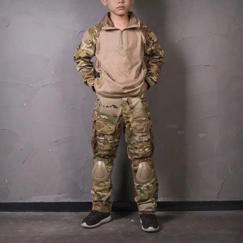 Тактическая Военная униформа, куртка, армейская детская военная форма, детские штаны с наколенниками, камуфляжная одежда для охоты