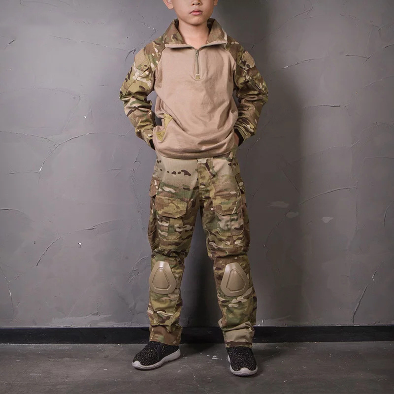 Tactical Military Uniform Jacket Army Kids Military Combat Uniform Children's Pants With Knee Pads Camouflage Hunting Clothes
