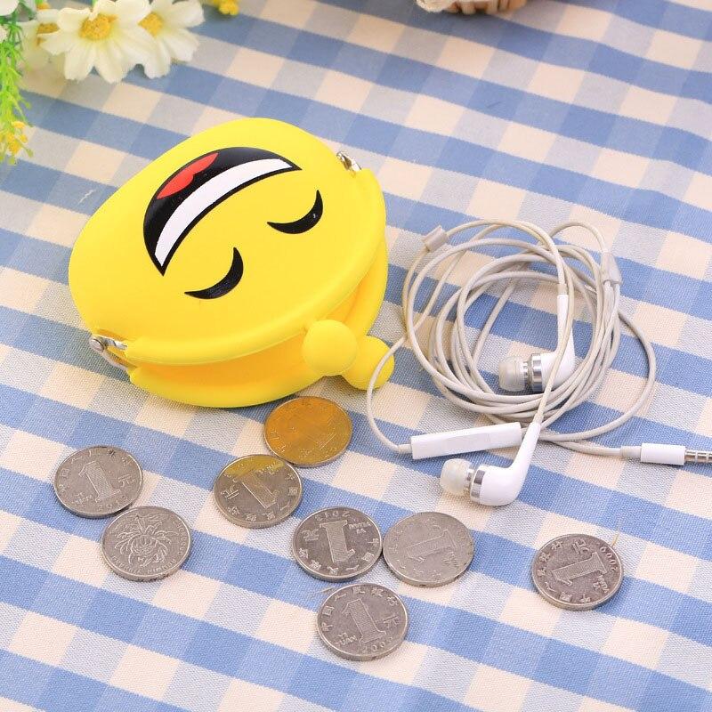 Fashion Lady Female Small Coin Purse Oval Cute Emotions Change Bags Girls Money Wallets Silica Gel Ladies Hasp Mini Bag