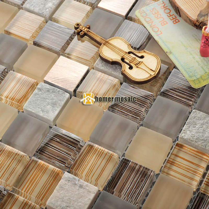 crystal glass mixed marble stone aluminum alloy metal mosaic <font><b>tiles</b></font> HMGM2091 for kitchen backsplash bathroom shower hallway wall