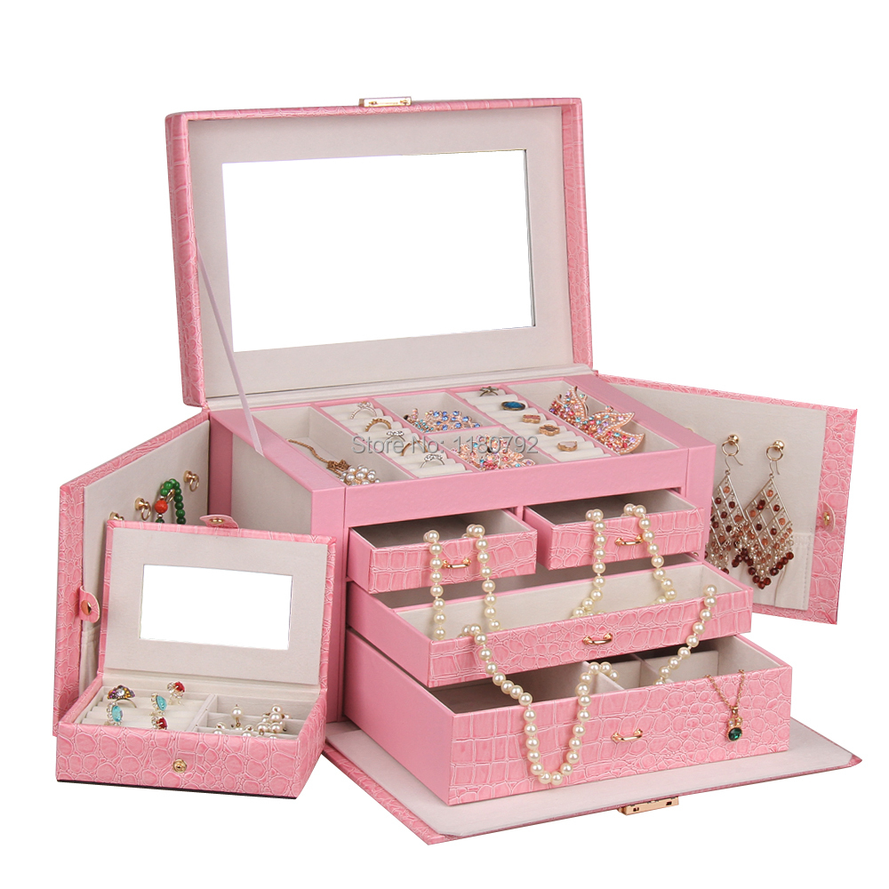 Pink Jewelry Box Jewellery Storage Case Watch Earring ...